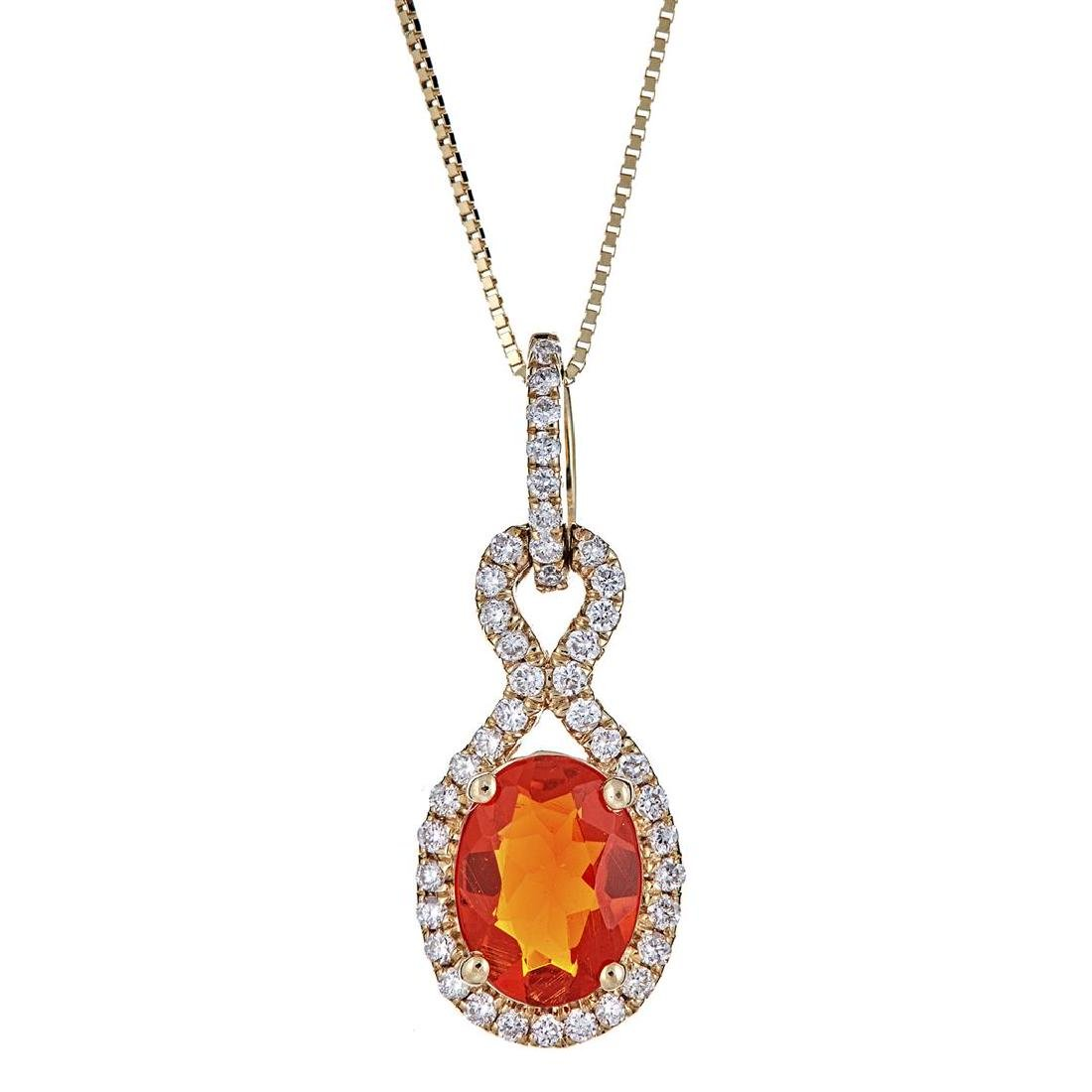 0.77 ctw Fire Opal and Diamond Pendant - 14KT Yellow