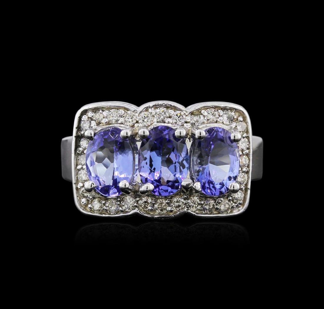 14KT White Gold 2.52 ctw Tanzanite and Diamond Ring - 2