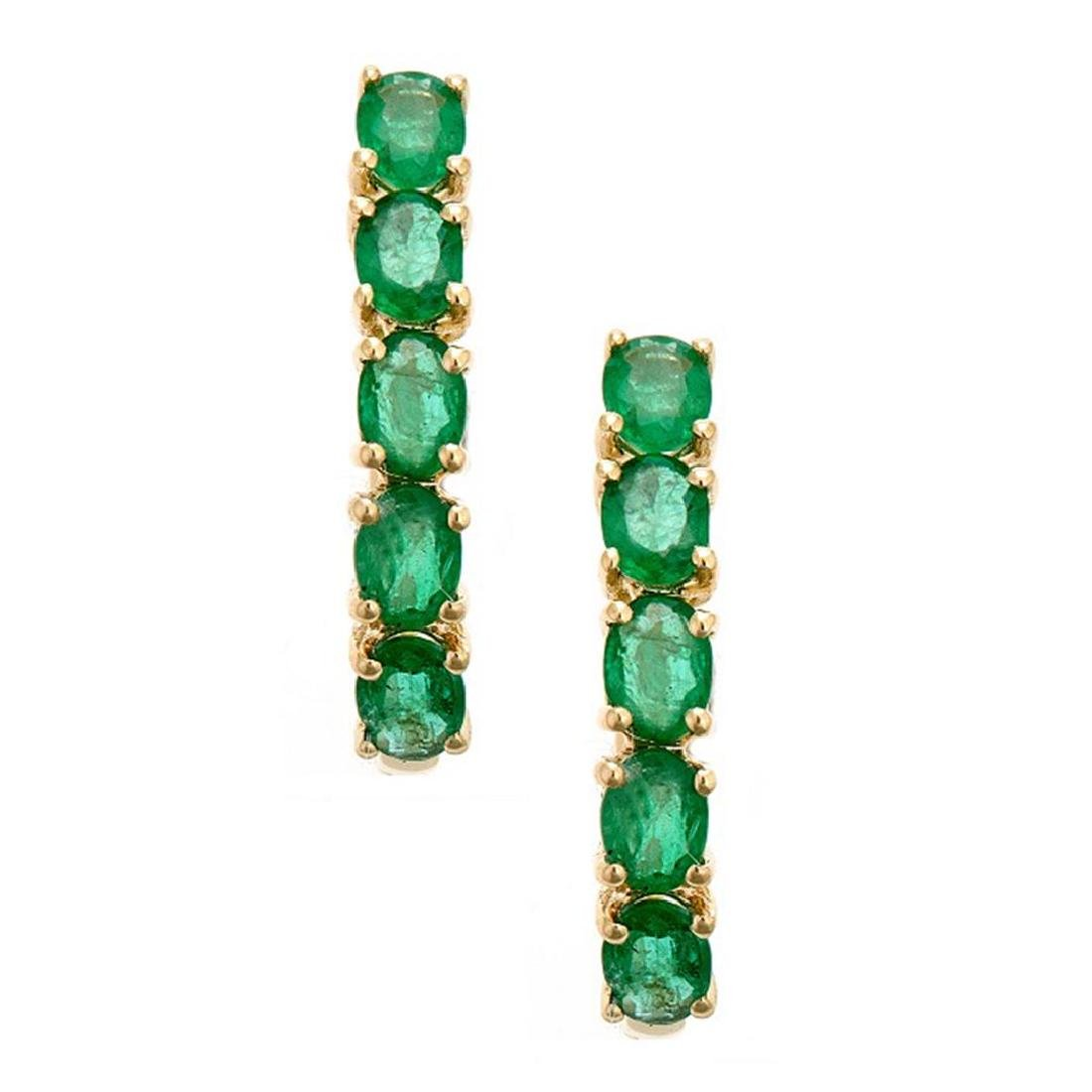 1.57 ctw Emerald Earrings - 14KT Yellow Gold