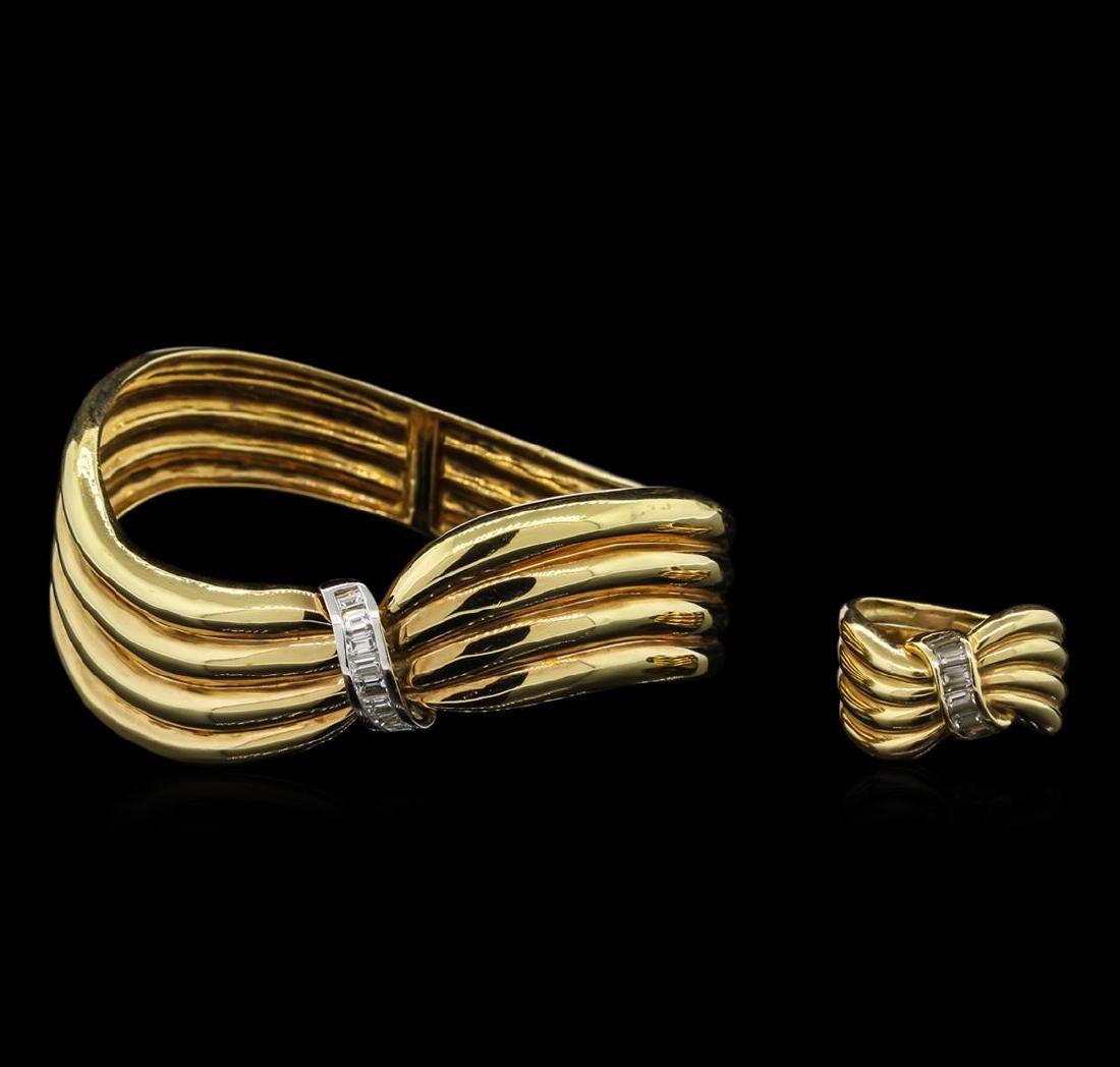 2.12 ctw Diamond Ring and Bangle Bracelet Suite - 18KT