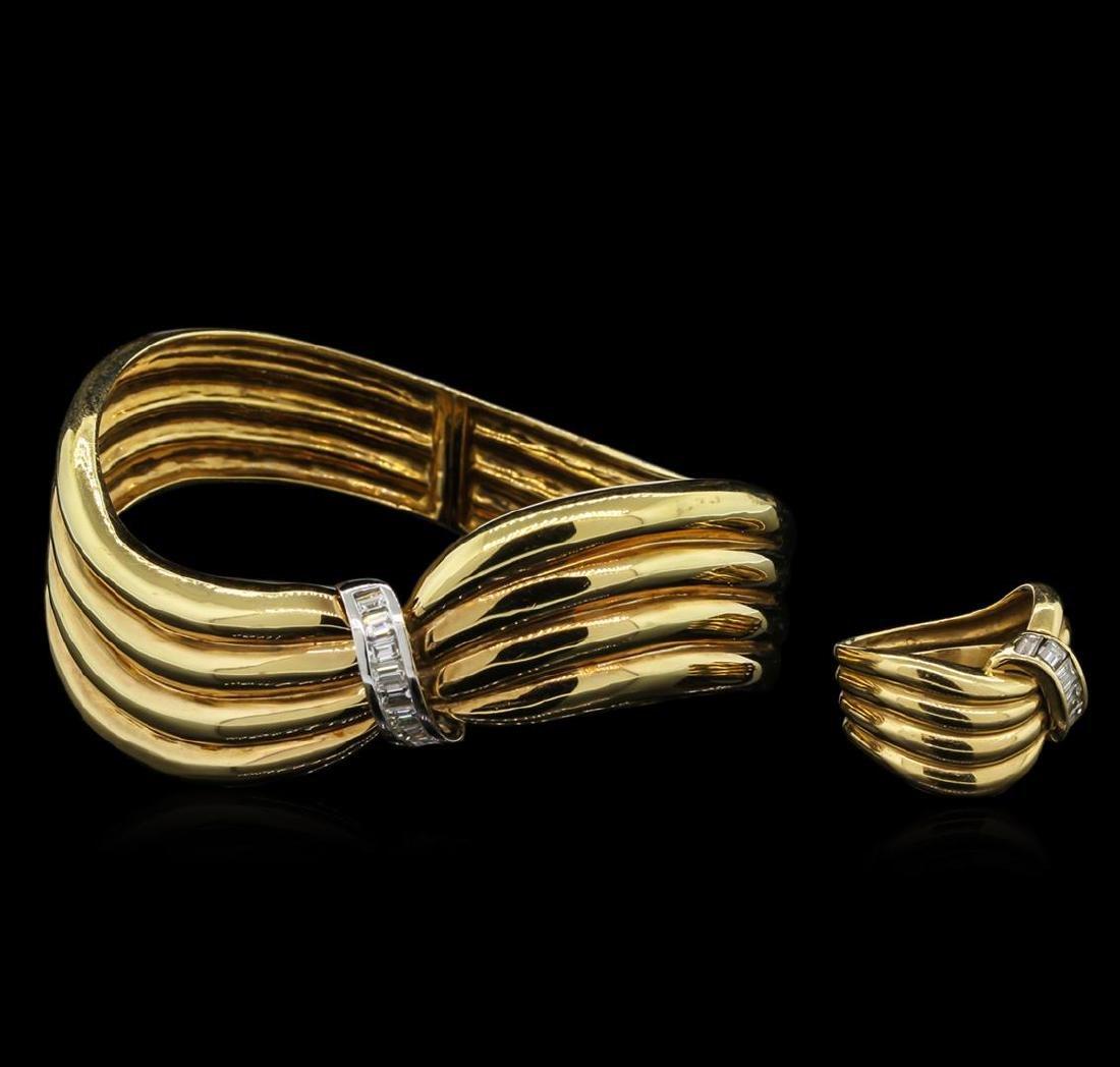 2.12 ctw Diamond Ring and Bangle Bracelet Suite - 18KT - 2