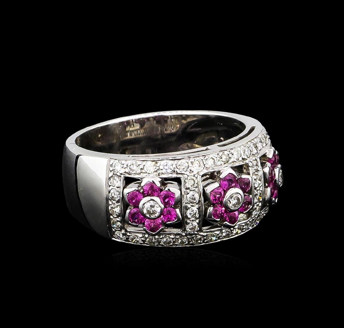 0.50 ctw Pink Sapphire and Diamond Ring - 18KT White
