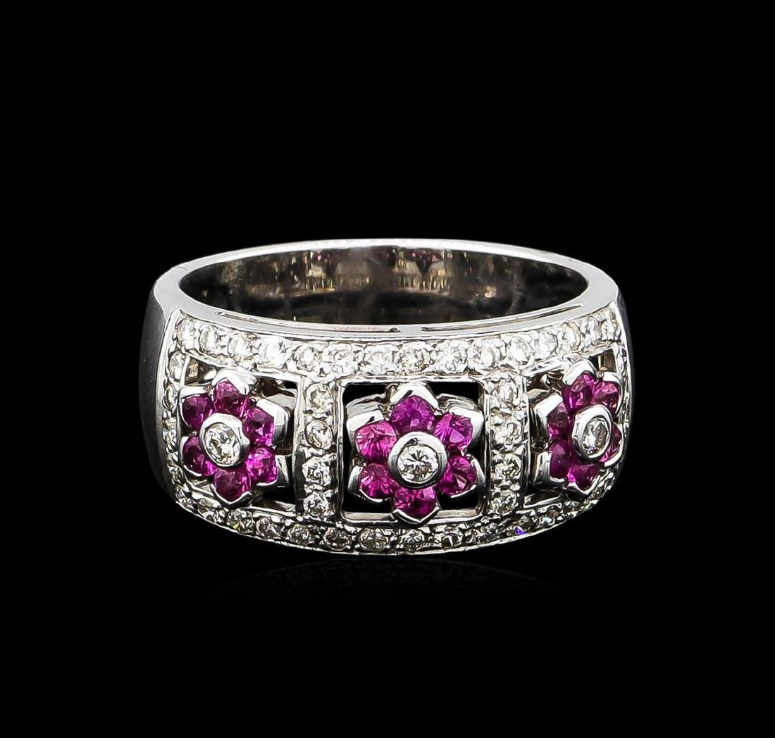 0.50 ctw Pink Sapphire and Diamond Ring - 18KT White - 2