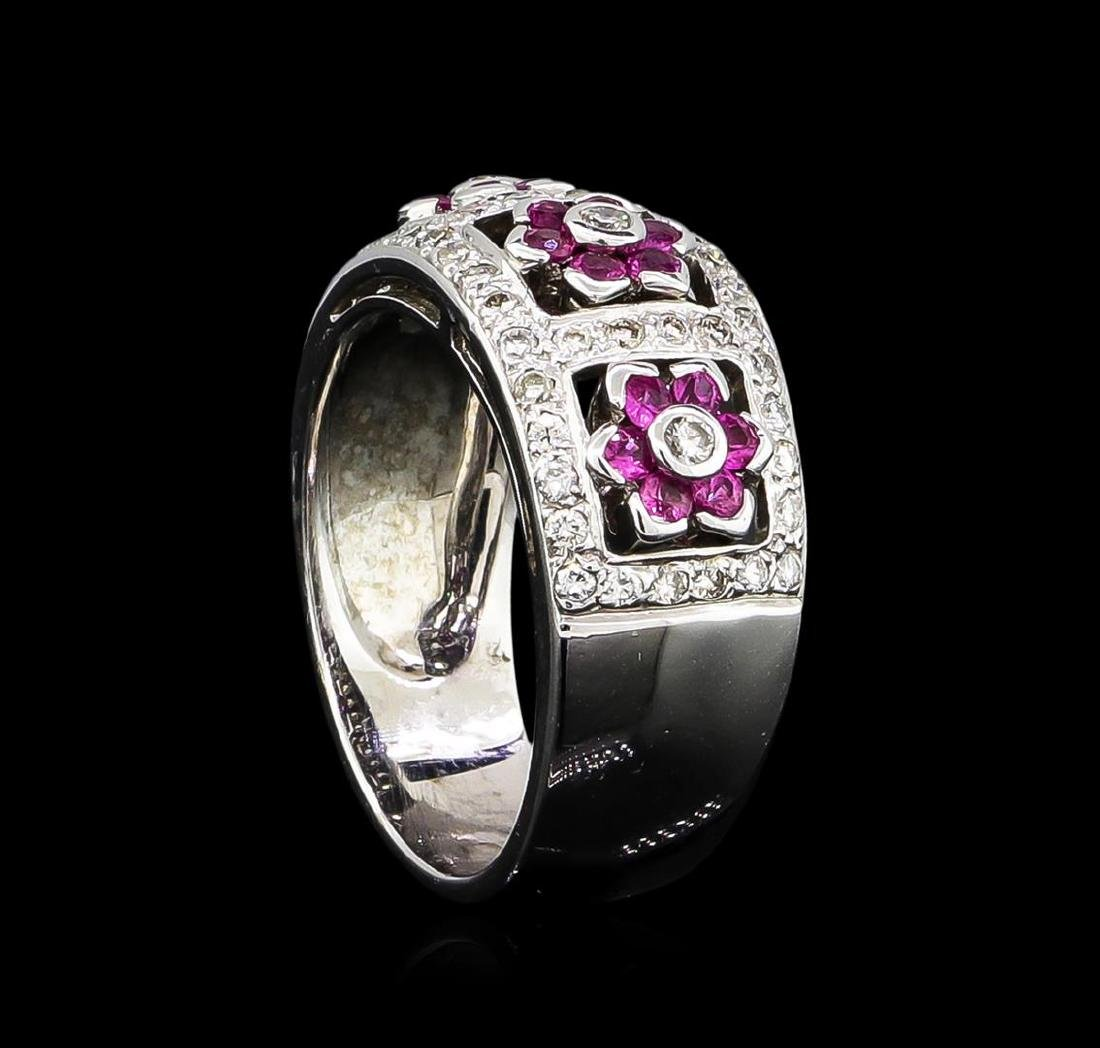 0.50 ctw Pink Sapphire and Diamond Ring - 18KT White - 4