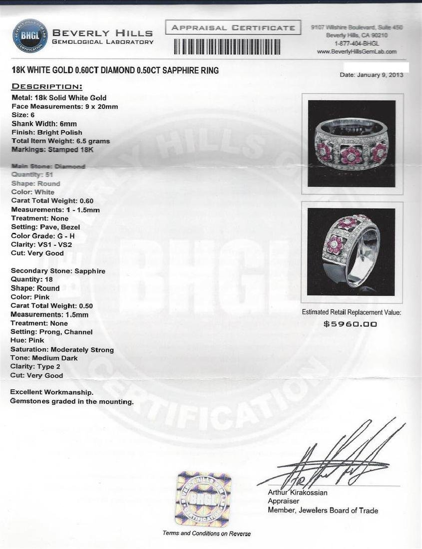 0.50 ctw Pink Sapphire and Diamond Ring - 18KT White - 5