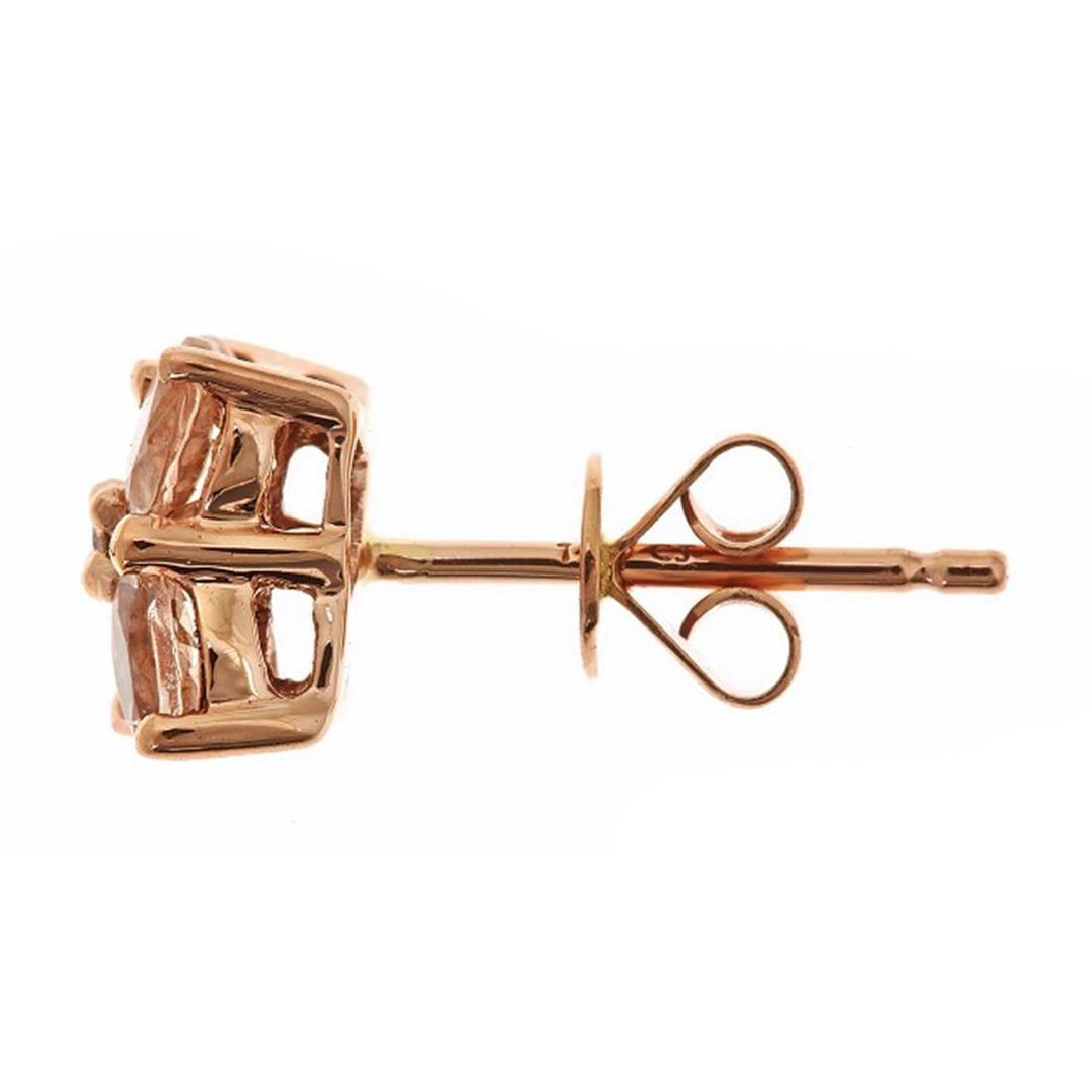 1.45 ctw Morganite and Diamond Earrings - 14KT Rose - 2