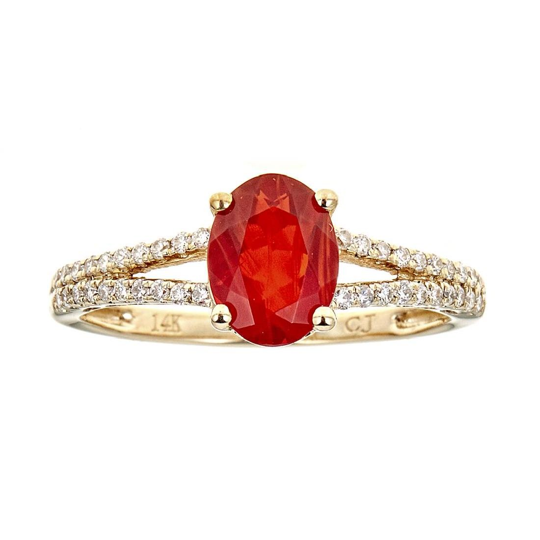 0.87 ctw Fire Opal and Diamond Ring - 14KT Yellow Gold