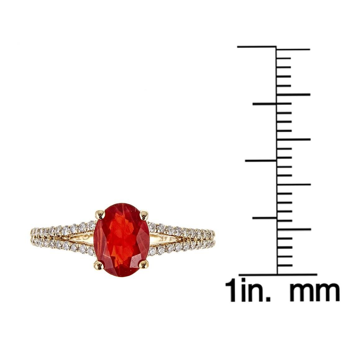 0.87 ctw Fire Opal and Diamond Ring - 14KT Yellow Gold - 4