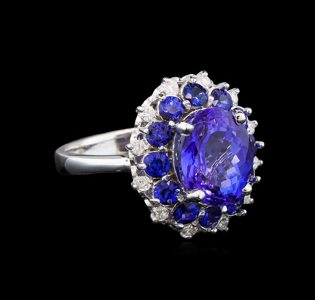 14KT White Gold 3.54 ctw Tanzanite, Sapphire and