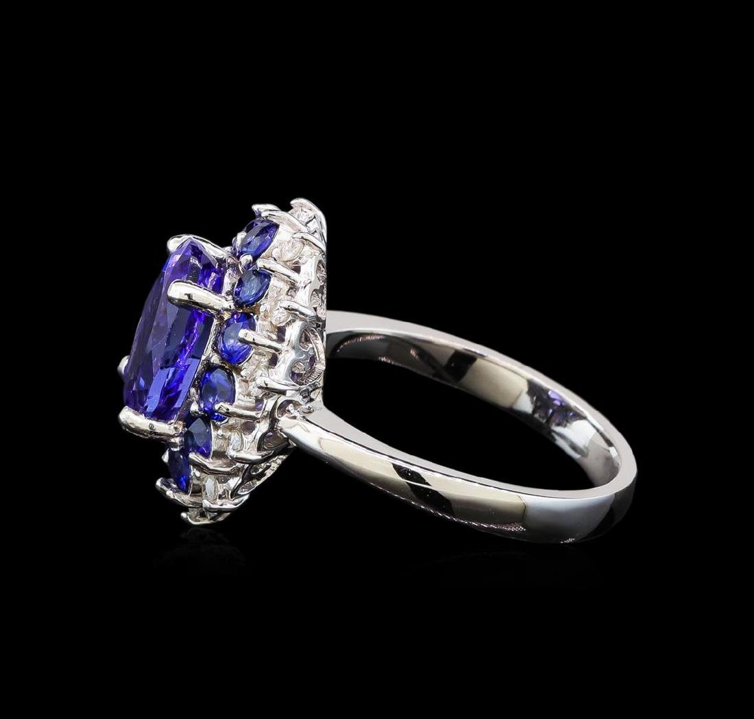 14KT White Gold 3.54 ctw Tanzanite, Sapphire and - 3