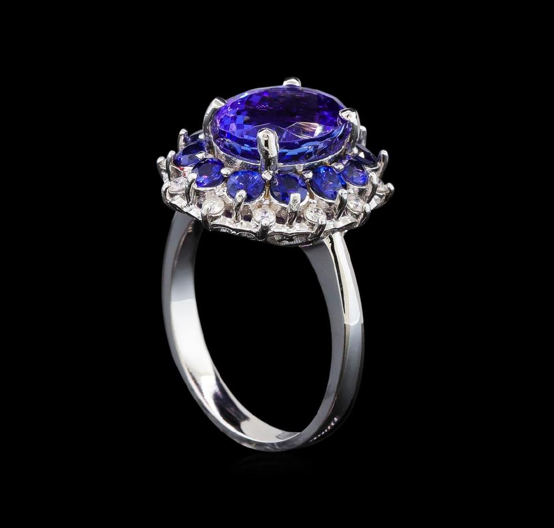 14KT White Gold 3.54 ctw Tanzanite, Sapphire and - 4