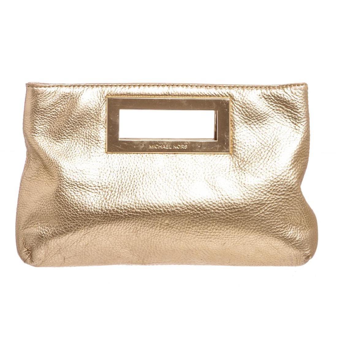 Michael Kors Pale Gold Leather Berkley Clutch Handbag