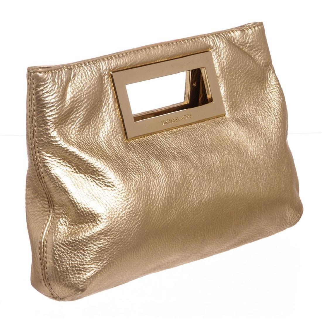 Michael Kors Pale Gold Leather Berkley Clutch Handbag - 2