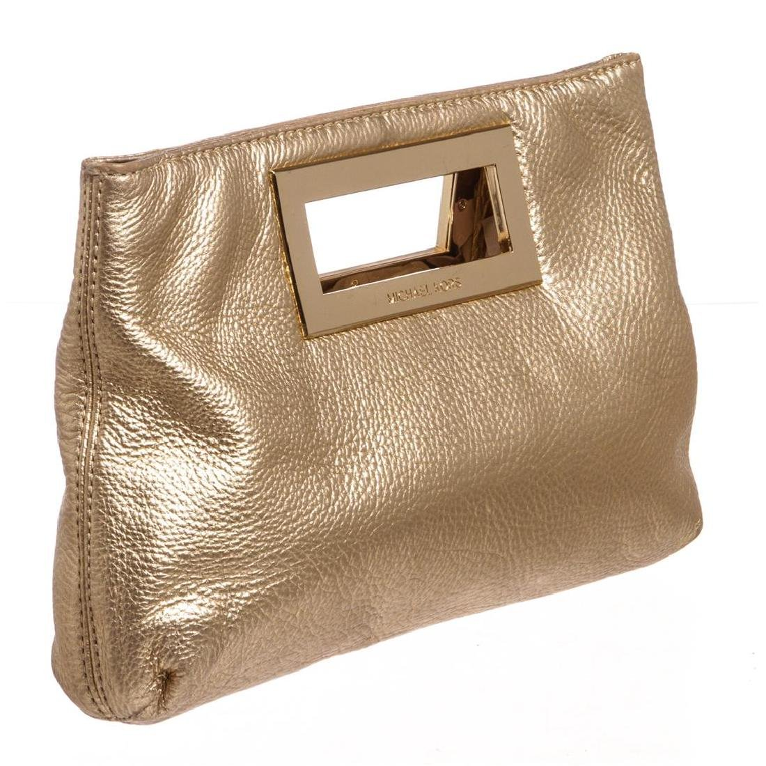 Michael Kors Pale Gold Leather Berkley Clutch Handbag - 3