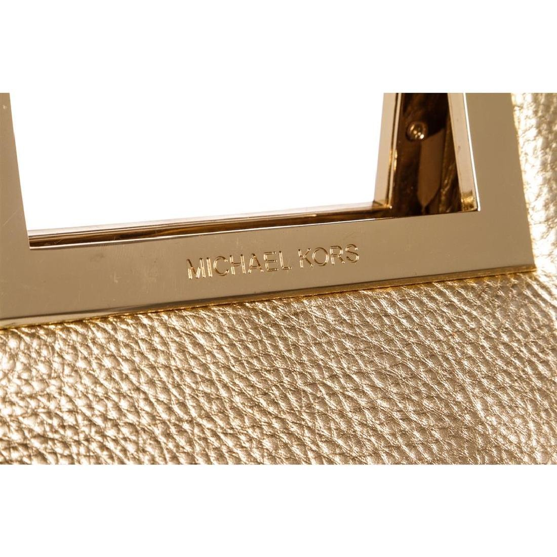 Michael Kors Pale Gold Leather Berkley Clutch Handbag - 4