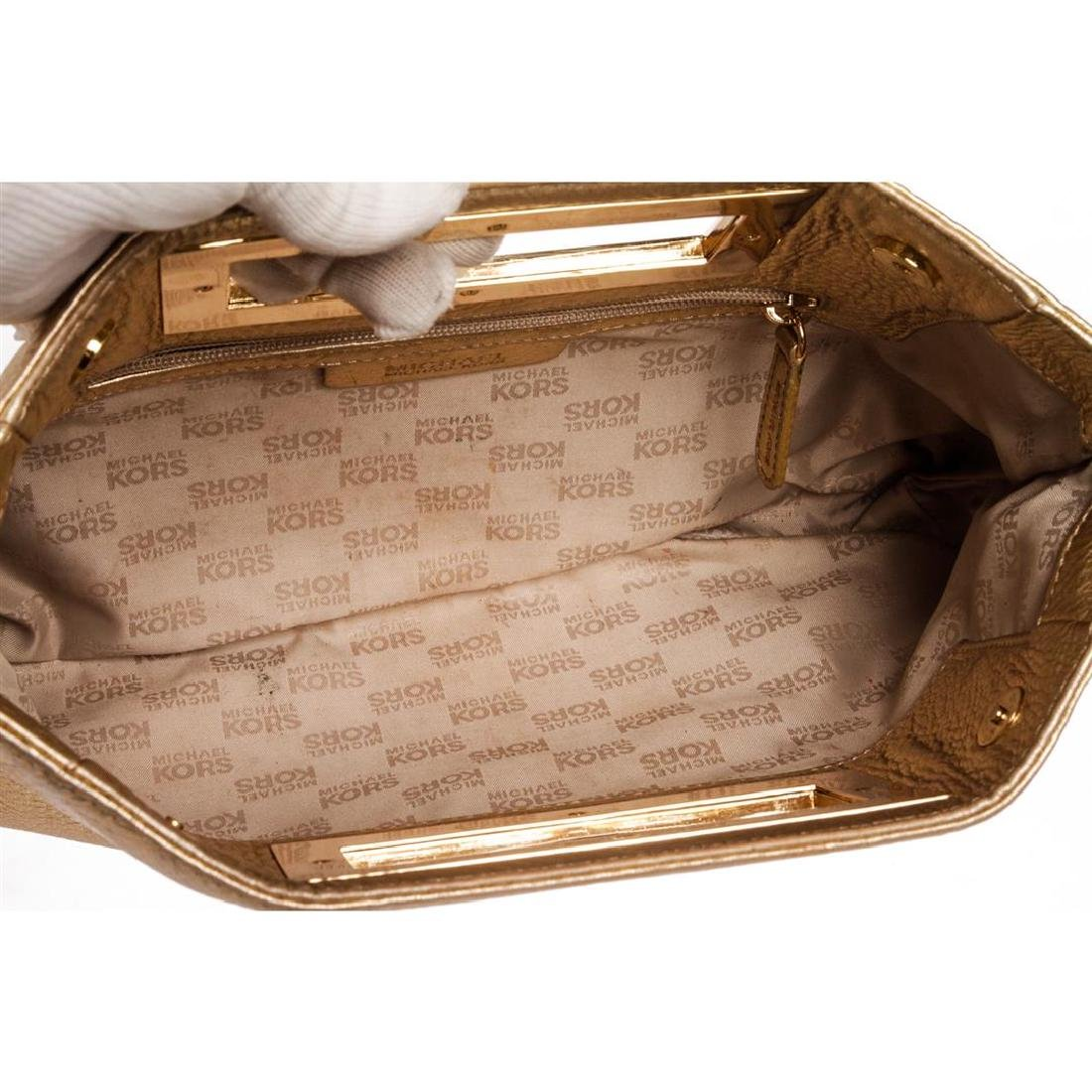 Michael Kors Pale Gold Leather Berkley Clutch Handbag - 5