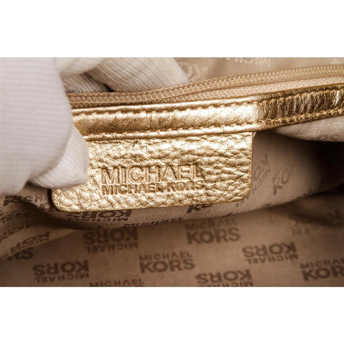 Michael Kors Pale Gold Leather Berkley Clutch Handbag - 6