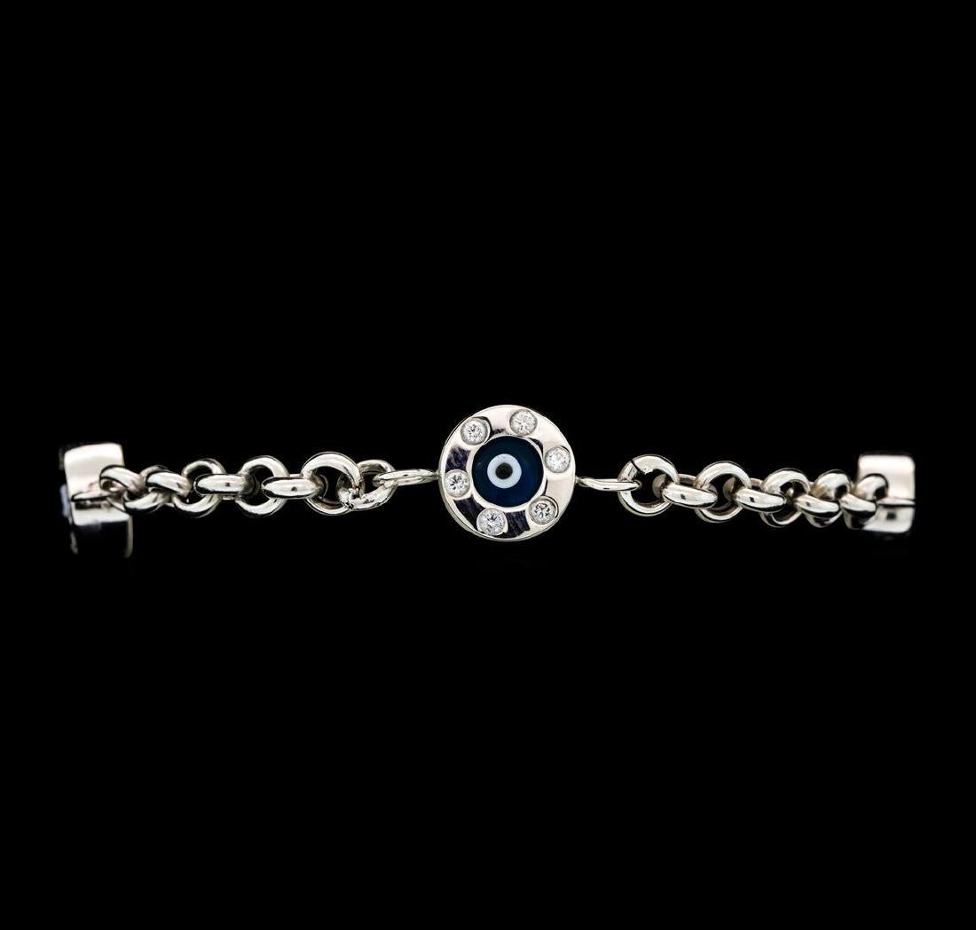 1.35 ctw Diamond Evil Eye Bracelet - 14KT White Gold