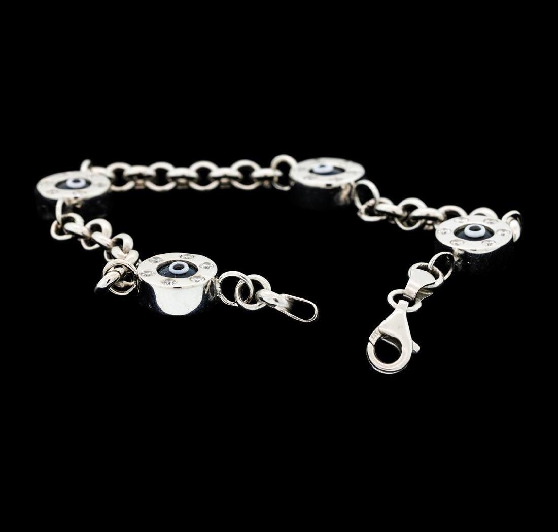 1.35 ctw Diamond Evil Eye Bracelet - 14KT White Gold - 4