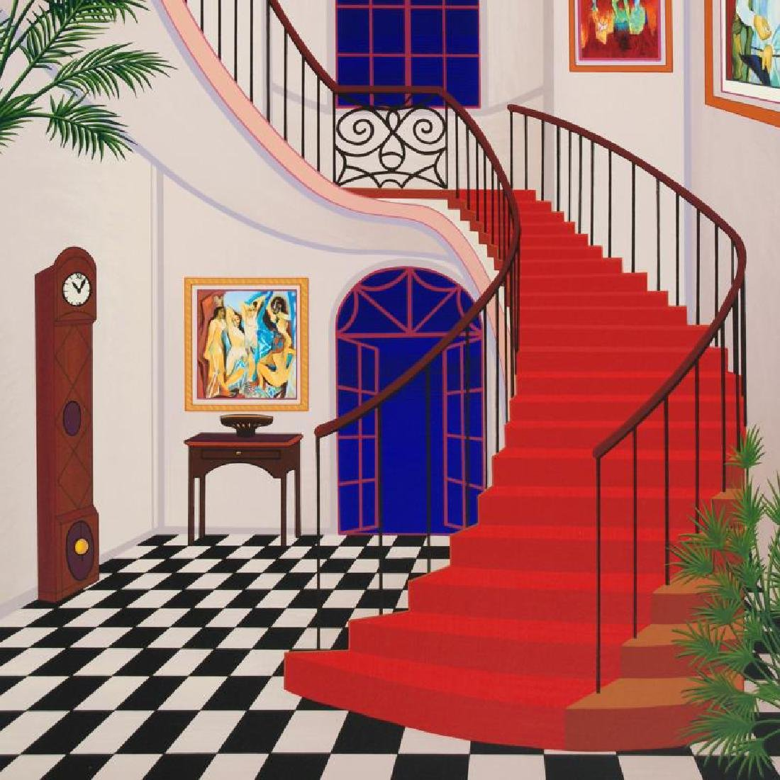 Interior With Red Staircase by Ledan, Fanch - 2