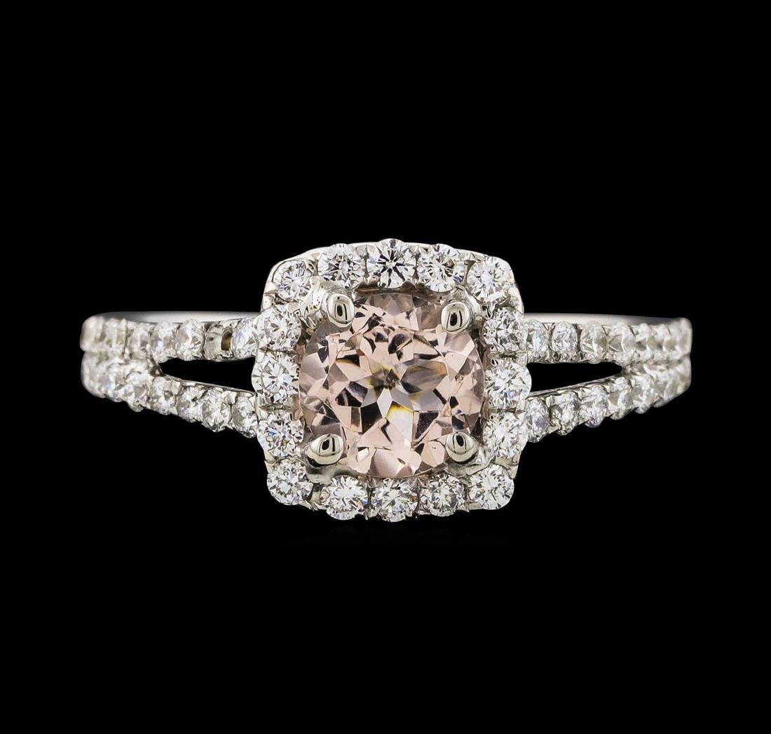 0.80 ctw Morganite and Diamond Ring - 18KT White Gold - 2