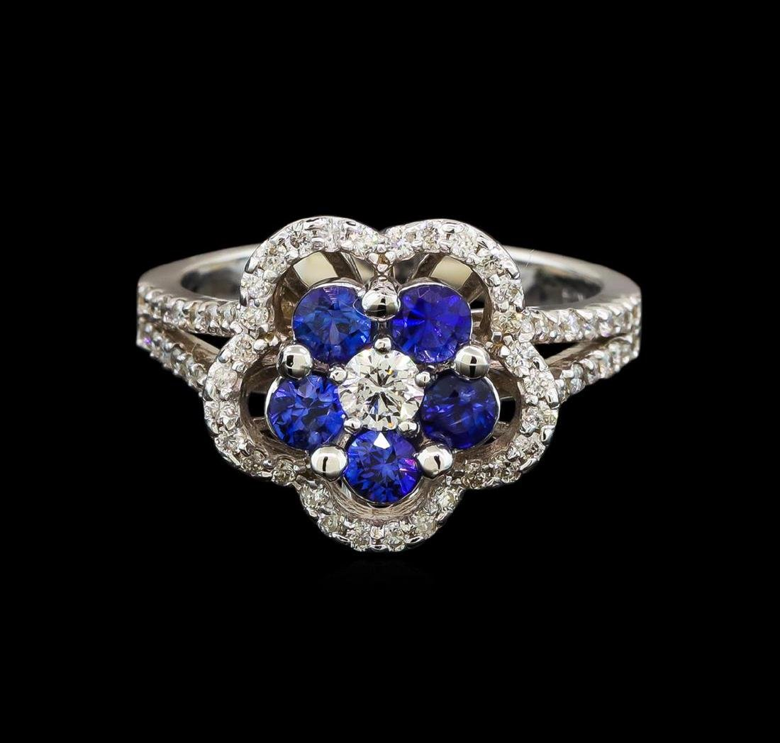 14KT White Gold 0.95 ctw Sapphire and Diamond Ring - 2