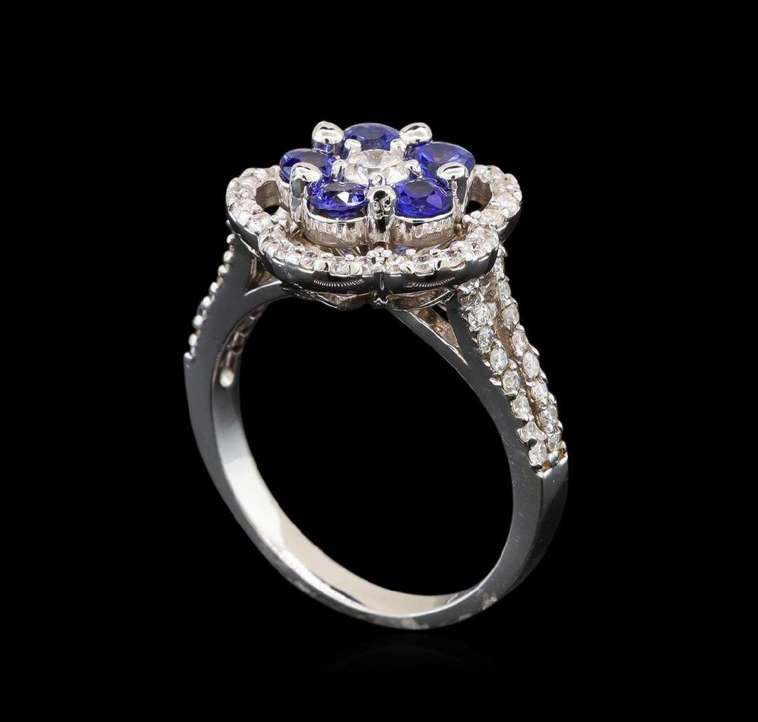 14KT White Gold 0.95 ctw Sapphire and Diamond Ring - 4