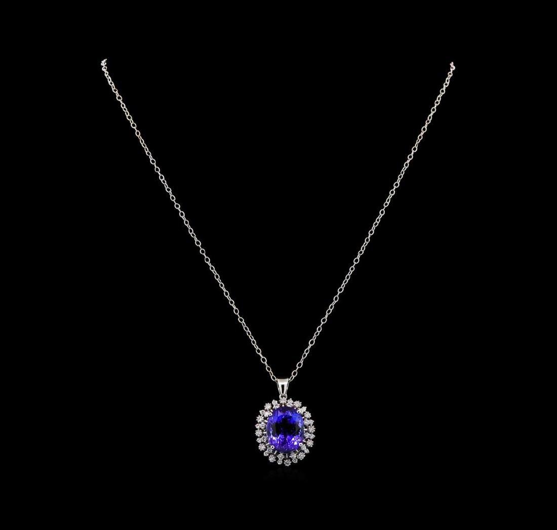 GIA Cert 15.02 ctw Tanzanite and Diamond Pendant With