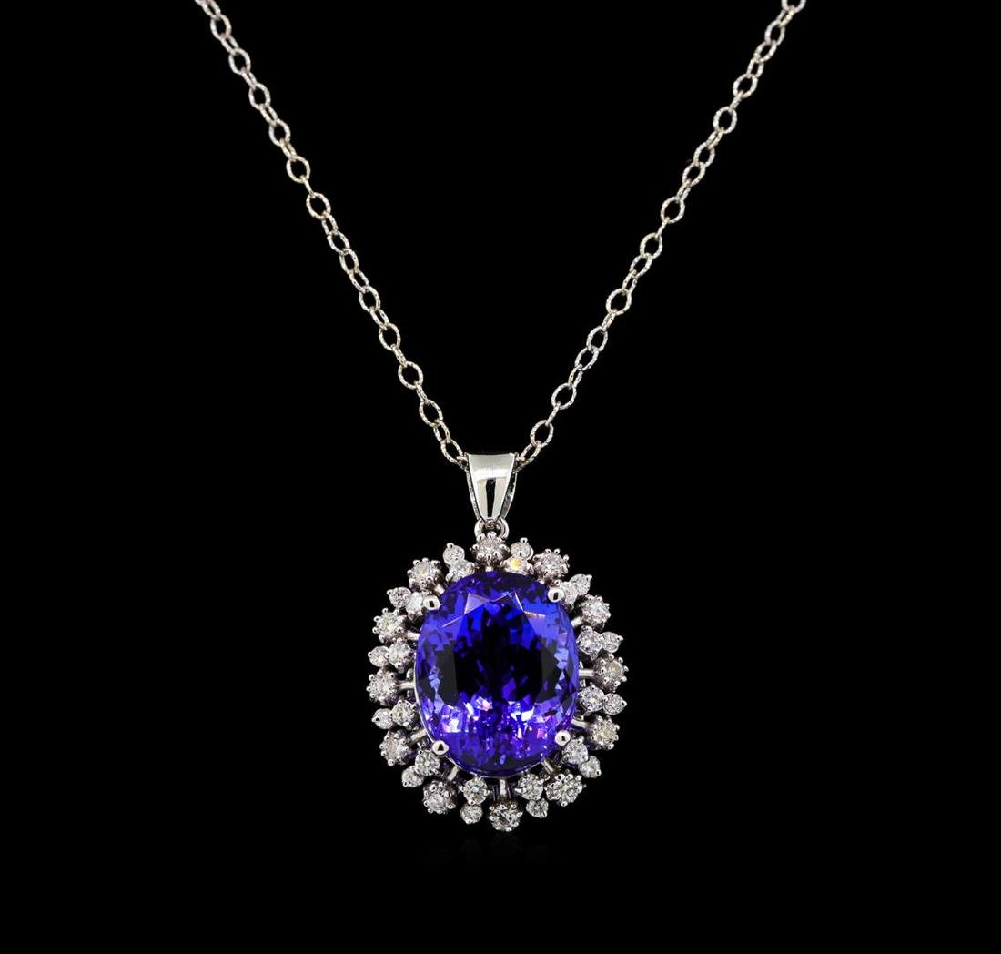 GIA Cert 15.02 ctw Tanzanite and Diamond Pendant With - 2