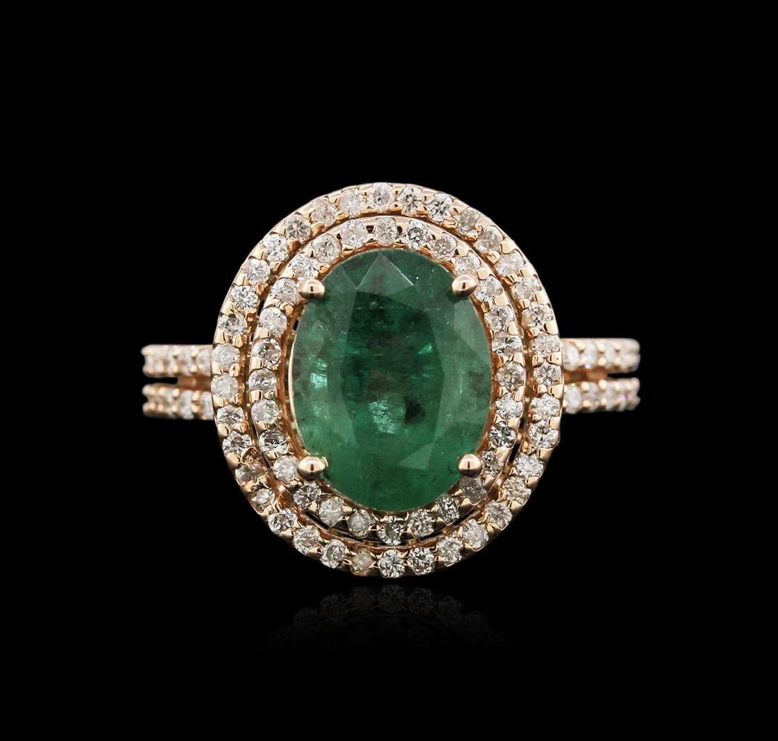 2.72 ctw Emerald and Diamond Ring - 14KT Rose Gold - 2