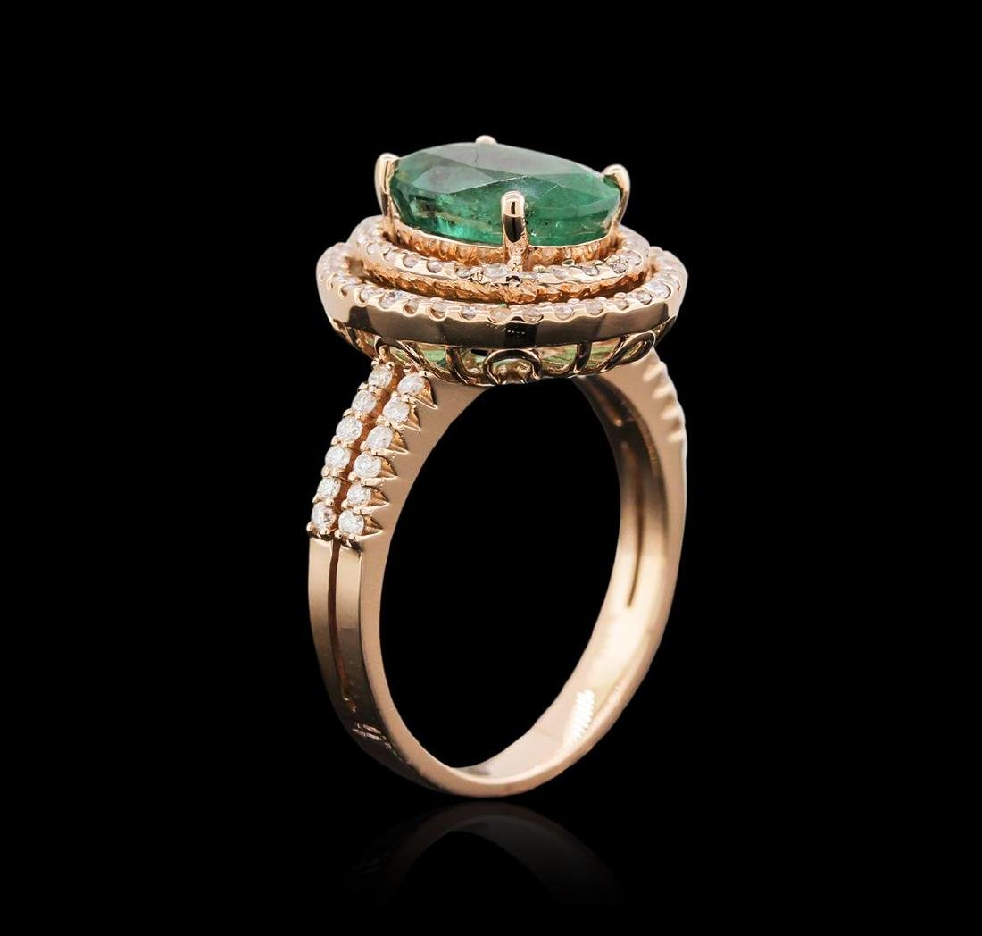 2.72 ctw Emerald and Diamond Ring - 14KT Rose Gold - 3