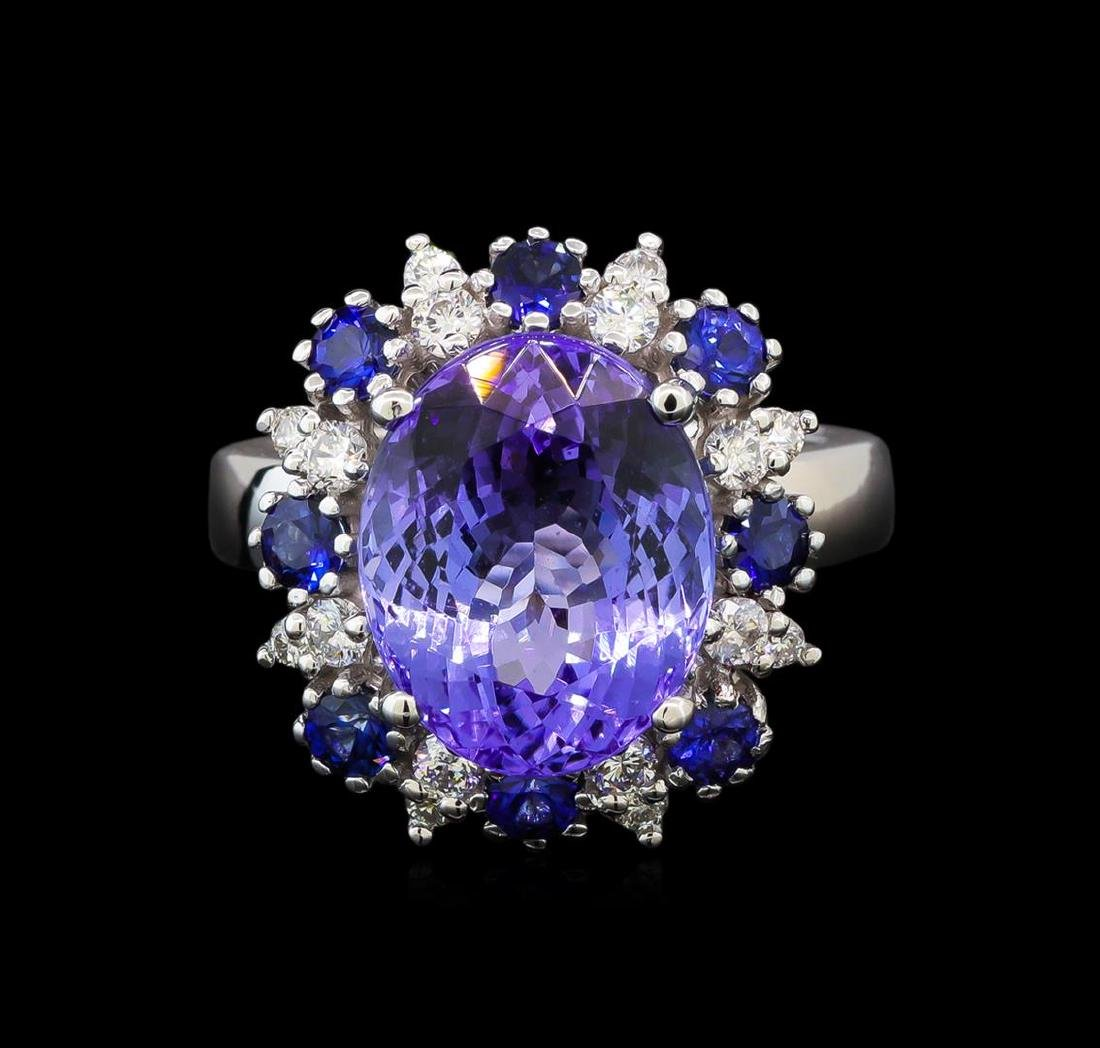14KT White Gold 6.56 ctw Tanzanite, Sapphire and - 2