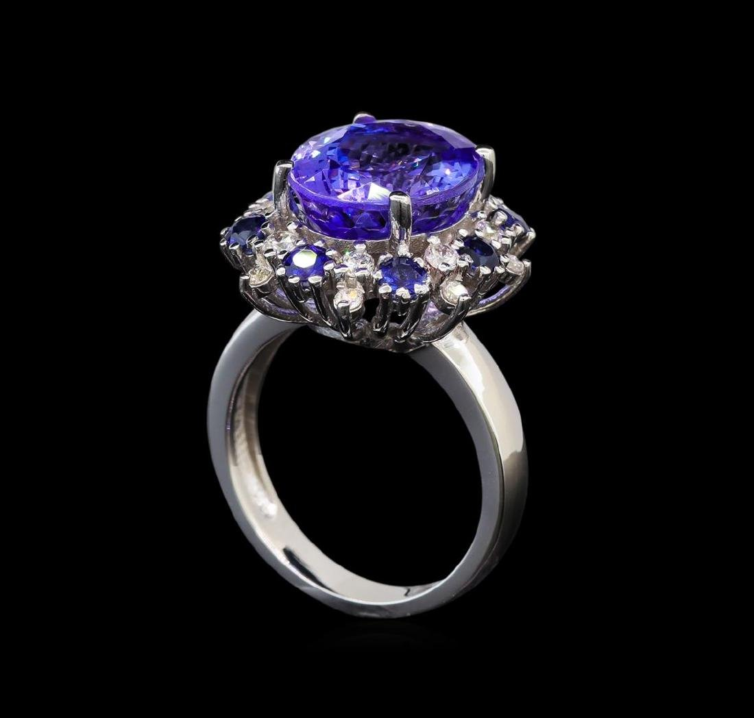 14KT White Gold 6.56 ctw Tanzanite, Sapphire and - 4