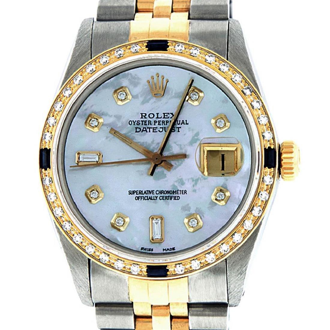 Rolex Mens 2 Tone 14K Mother Of Pearl Diamond & - 2