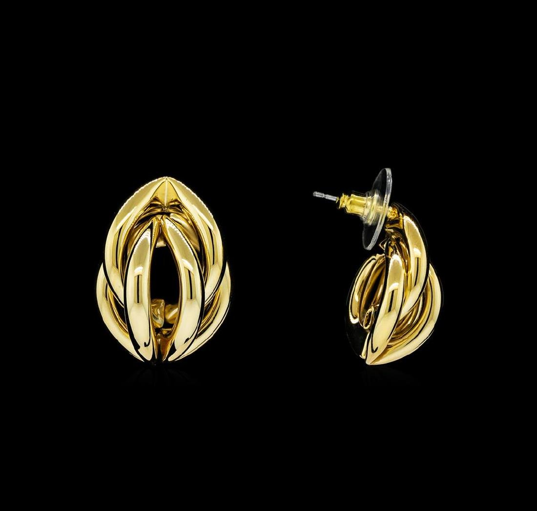 Braided Shell Shaped Post Earrings - Gold Plated - 2