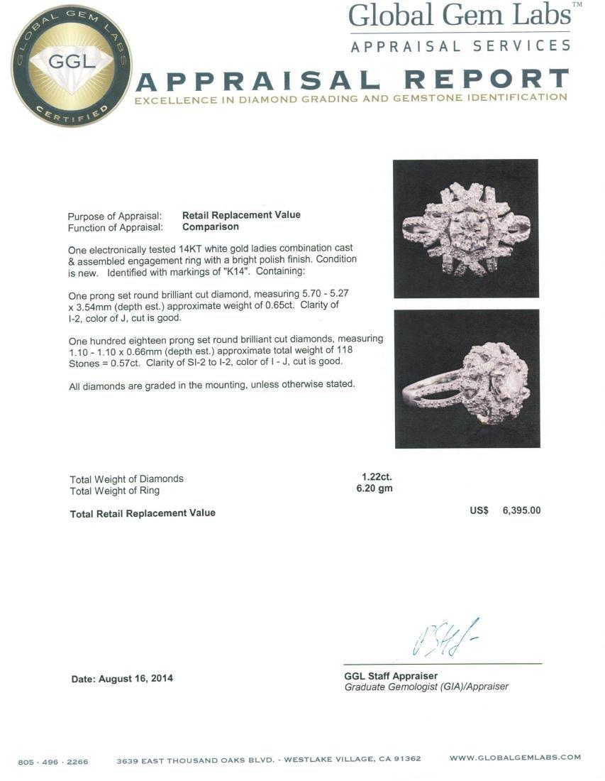 14KT White Gold 1.22 ctw Diamond Ring - 3