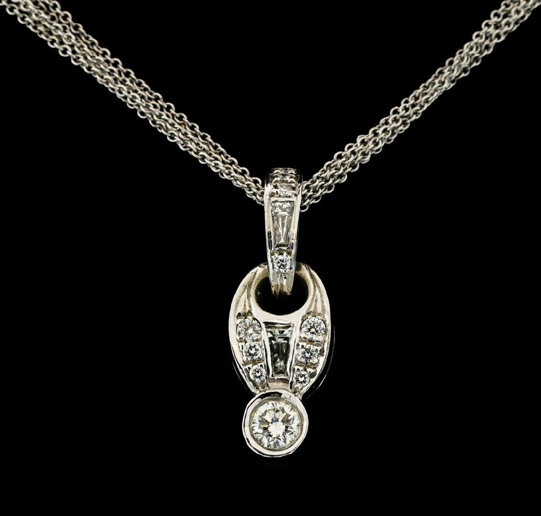 0.62 ctw Diamond Pendant With Chain - 18KT White Gold - 2