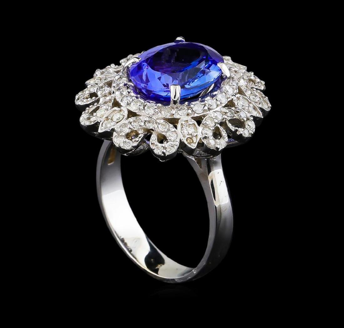 4.13 ctw Tanzanite and Diamond Ring - 14KT White Gold - 4
