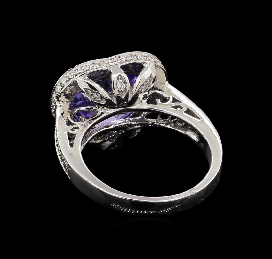 5.65 ctw Tanzanite and Diamond Ring - 14KT White Gold - 3