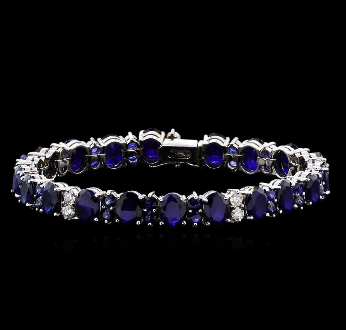 31.89 ctw Blue Sapphire and Diamond Bracelet - 14KT