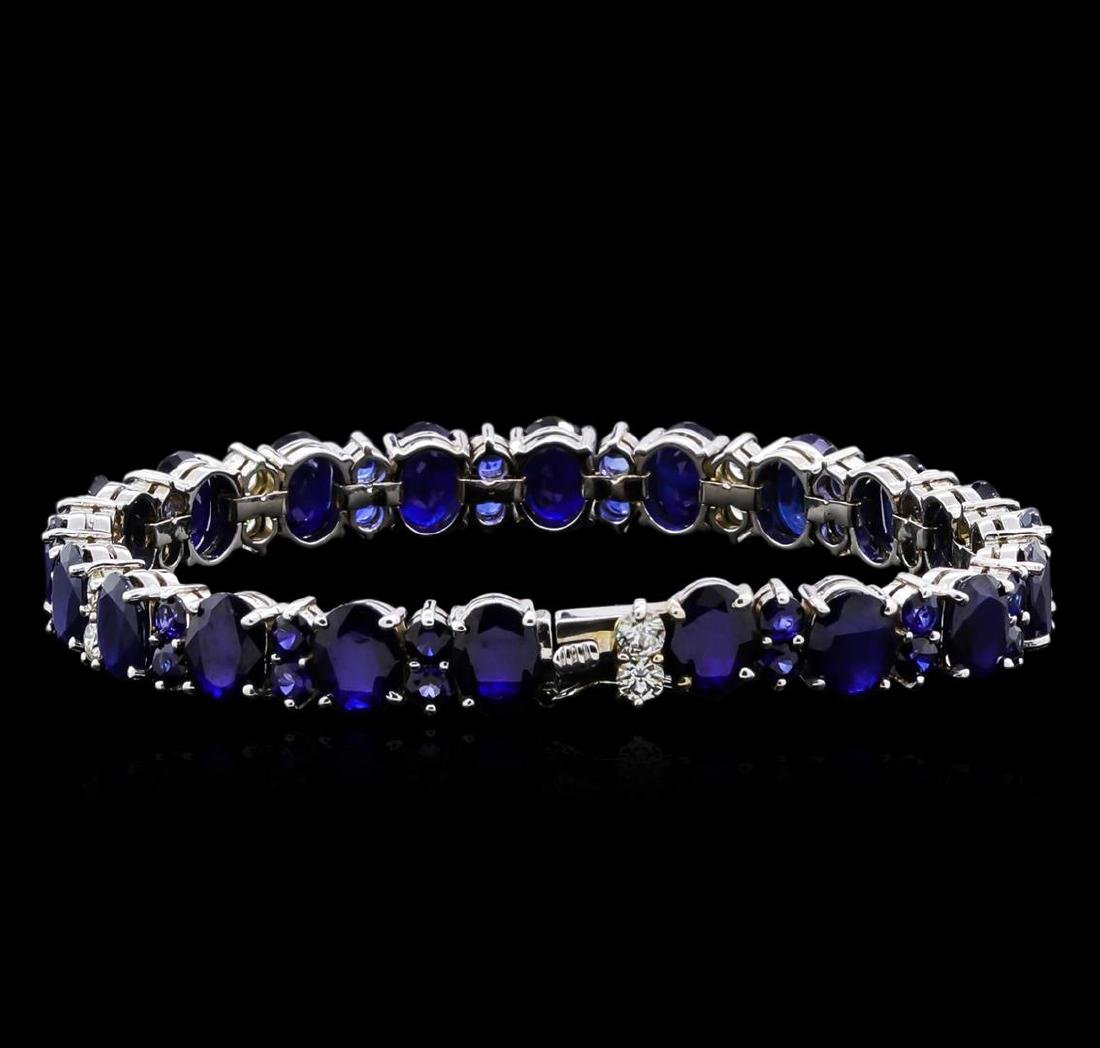 31.89 ctw Blue Sapphire and Diamond Bracelet - 14KT - 2