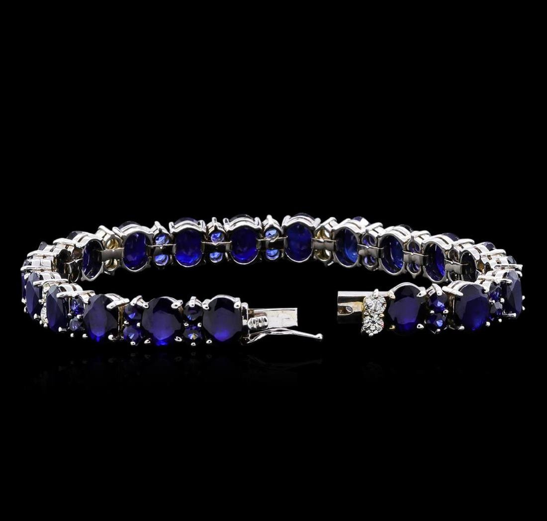 31.89 ctw Blue Sapphire and Diamond Bracelet - 14KT - 3