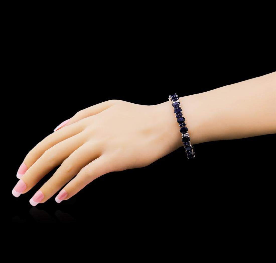 31.89 ctw Blue Sapphire and Diamond Bracelet - 14KT - 4