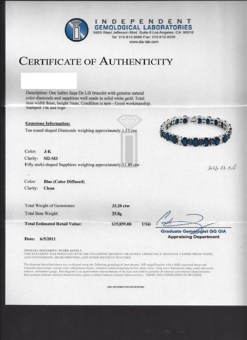 31.89 ctw Blue Sapphire and Diamond Bracelet - 14KT - 5
