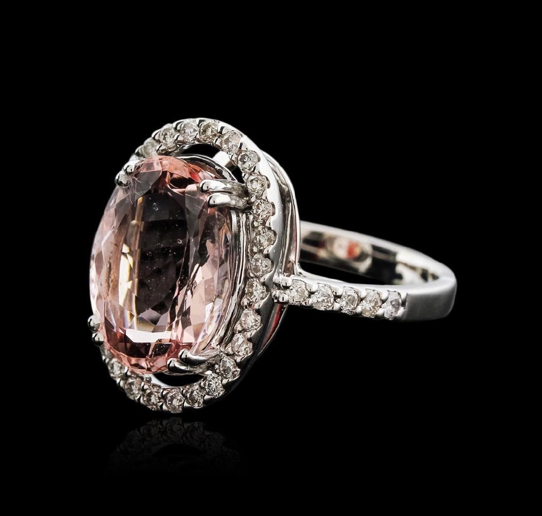18KT White Gold 7.16 ctw Morganite and Diamond Ring