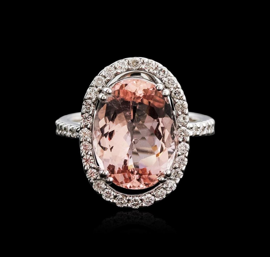 18KT White Gold 7.16 ctw Morganite and Diamond Ring - 2