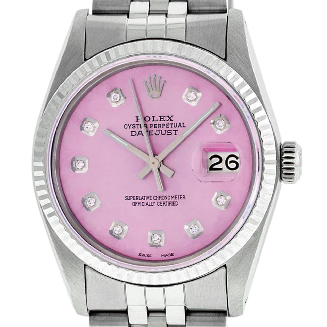 Rolex Mens Stainless Steel Pink Diamond 36MM Datejust