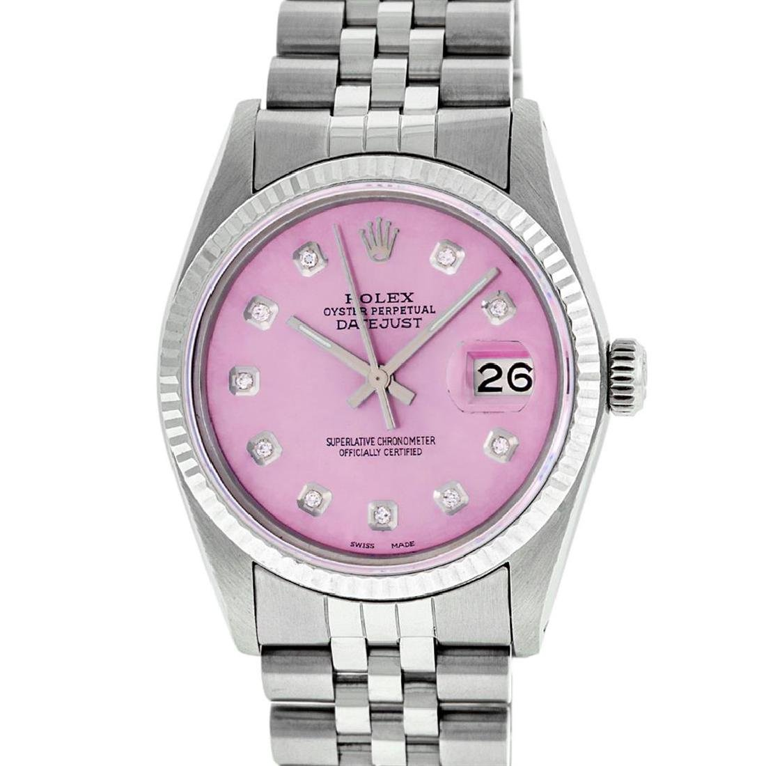 Rolex Mens Stainless Steel Pink Diamond 36MM Datejust - 2
