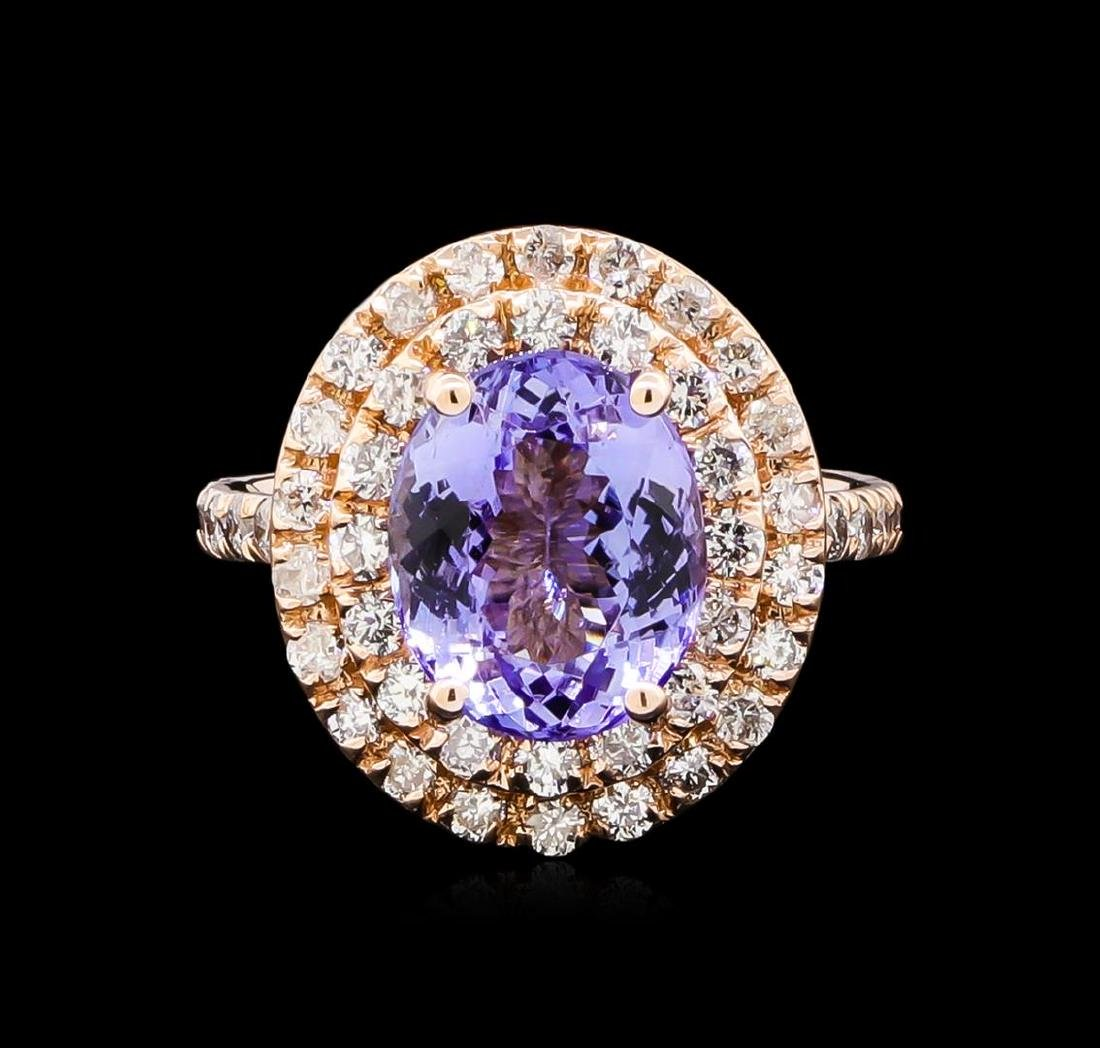 4.15 ctw Tanzanite and Diamond Ring - 14KT Rose Gold - 2