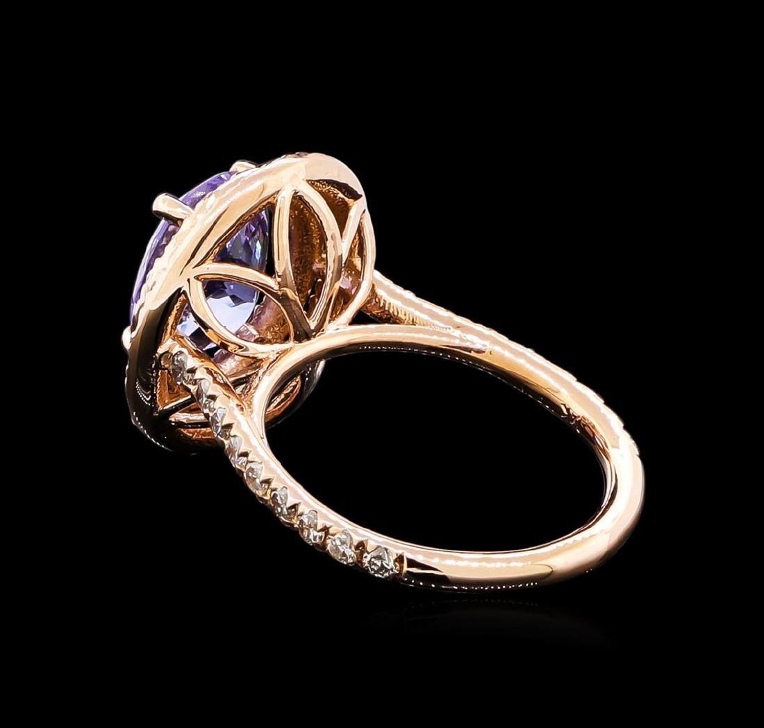 4.15 ctw Tanzanite and Diamond Ring - 14KT Rose Gold - 3